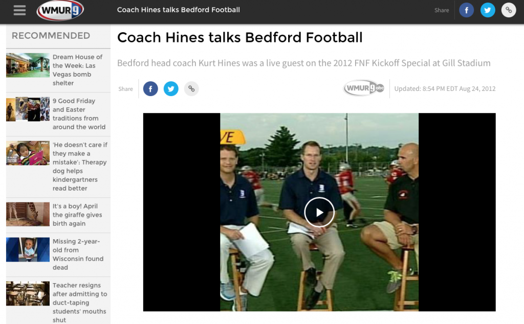 Coach Kurt Hines WMUR 3
